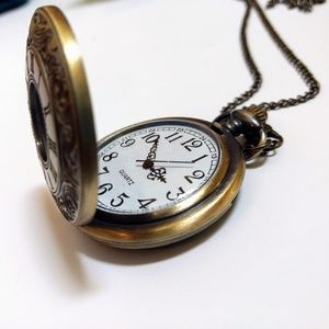 Jewelry - Long Chain Brass Pendant Watch Necklace